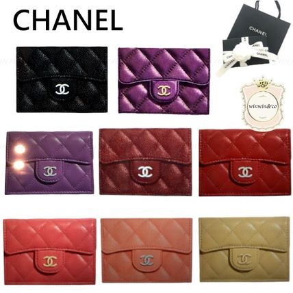 CHANEL MATELASSE Plain Leather Logo Folding Wallets