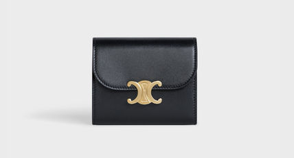 CELINE Triomphe Small Flap Wallet In Shiny Smooth Lambskin
