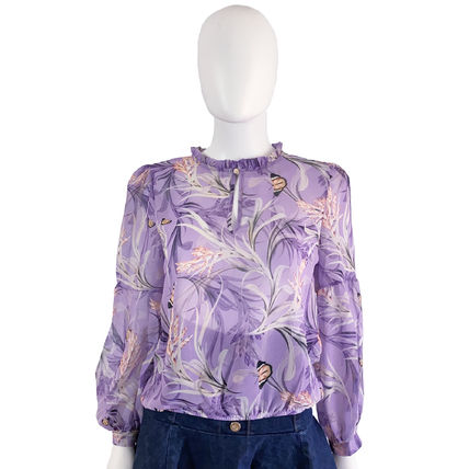 Flower Patterns Casual Style Long Sleeves Medium Party Style