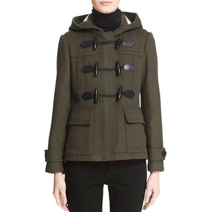 Burberry Short Casual Style Wool Office Style Elegant Style