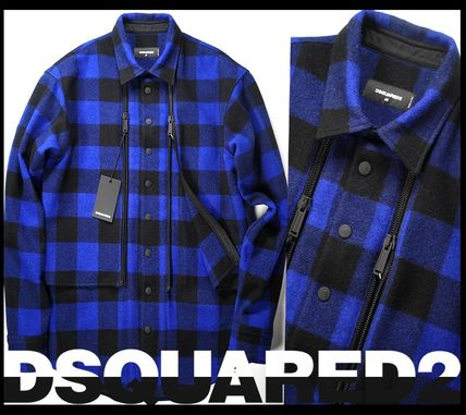 D SQUARED2 Other Plaid Patterns Wool Oversized Front Button Jackets