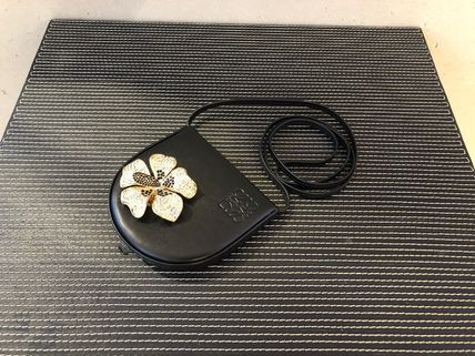 LOEWE Flower Patterns Leather Party Style Elegant Style Crossbody