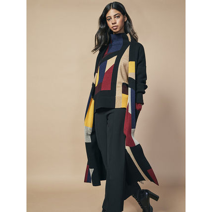 Casual Style Cashmere Bi-color Medium Long Party Style