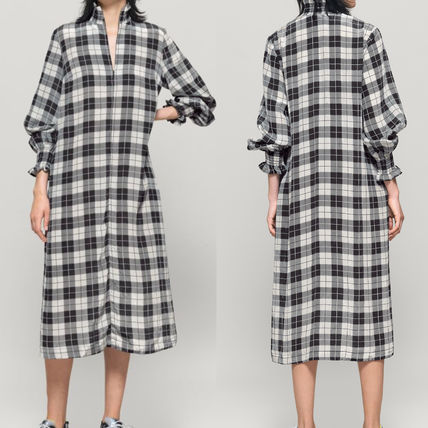 Other Plaid Patterns Flower Patterns Long Sleeves Dresses
