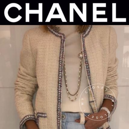 CHANEL ICON Casual Style Tweed Blended Fabrics Street Style Plain Medium