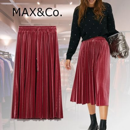 Max&Co. Casual Style Pleated Skirts Plain Medium Party Style