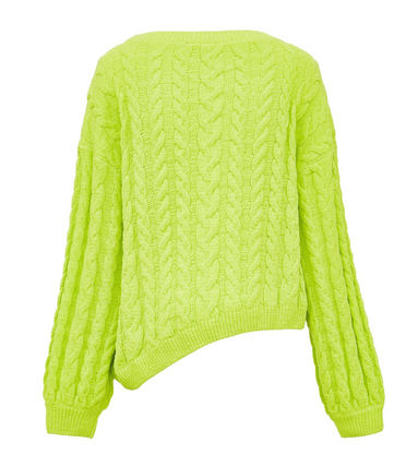 Crew Neck Cable Knit Short Casual Style Long Sleeves