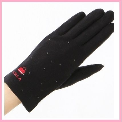 FURLA Studded With Jewels Logo Gloves Gloves