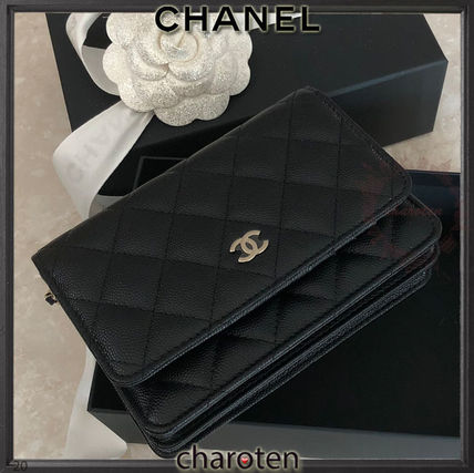 CHANEL CHAIN WALLET Calfskin Chain Plain Leather Folding Wallet Chain Wallet