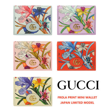 GUCCI Flower Patterns Unisex Canvas Leather Folding Wallet