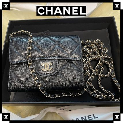 CHANEL CHAIN WALLET Casual Style 2WAY Plain Leather Party Style Office Style