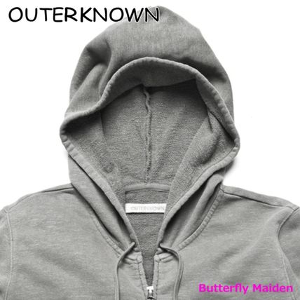 Outer known Hoodies Unisex Street Style Long Sleeves Plain Cotton Logo 3