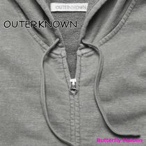 Outer known Hoodies Unisex Street Style Long Sleeves Plain Cotton Logo 4