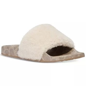 Coach Open Toe Rubber Sole Casual Style Faux Fur Plain Party Style