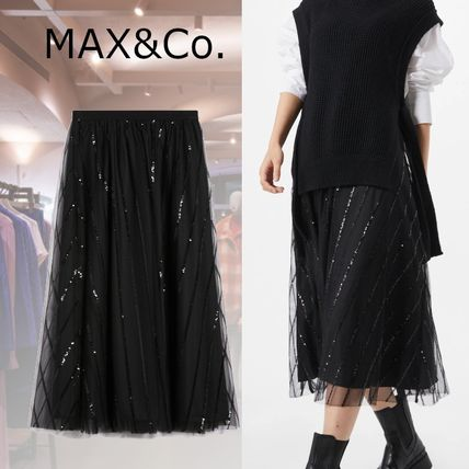 Bridal Flared Skirts Stripes Casual Style Plain Long