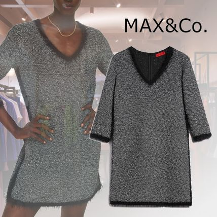Max&Co. Short Casual Style V-Neck Cropped Plain Cotton Party Style