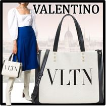 VALENTINO Casual Style Street Style Leather Elegant Style