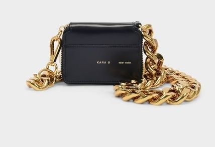 Casual Style Chain Plain Leather Party Style Crossbody Logo