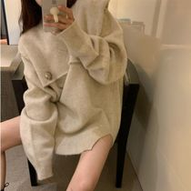 Cable Knit Casual Style Nylon Rib Dolman Sleeves