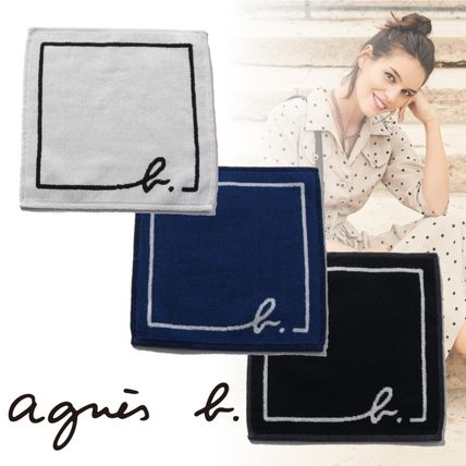 Agnes b Unisex Plain Cotton Logo Handkerchief