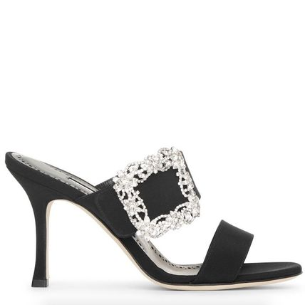 Open Toe Plain Leather Pin Heels With Jewels Mules Bridal