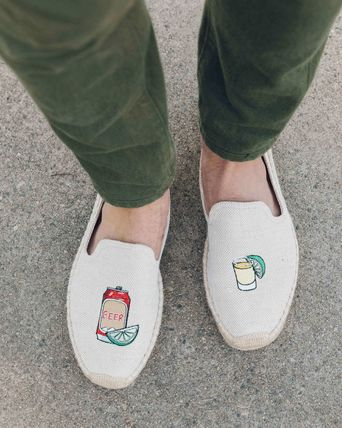 Tropical Patterns Loafers Blended Fabrics Street Style Plain