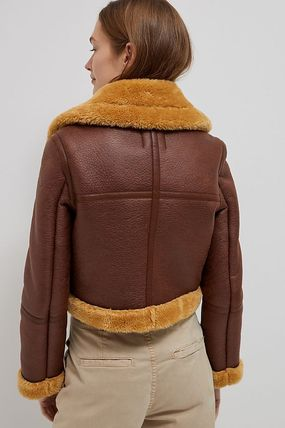 Casual Style Faux Fur Plain Medium Party Style Jackets