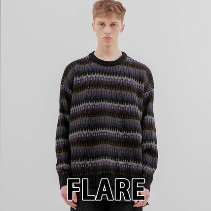 FLARE UP Sweaters Crew Neck Pullovers Stripes Unisex Street Style Long Sleeves