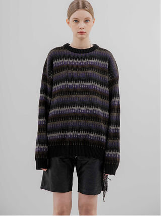 FLARE UP Sweaters Crew Neck Pullovers Stripes Unisex Street Style Long Sleeves 3