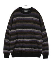 FLARE UP Sweaters Crew Neck Pullovers Stripes Unisex Street Style Long Sleeves 11