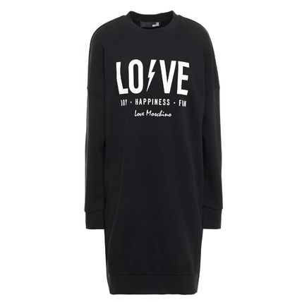 Casual Style Street Style Long Sleeves Cotton Logo Dresses