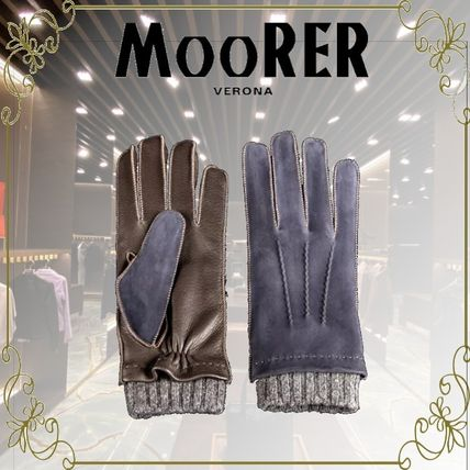 MOORER Plain Leather Leather & Faux Leather Gloves