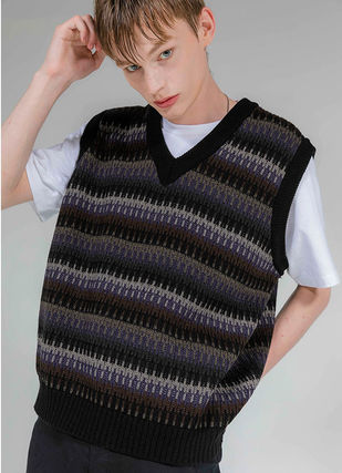 Stripes Unisex Street Style Oversized Vests & Gillets