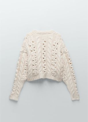 ZARA Cable Knit Casual Style V-Neck Long Sleeves Sweaters