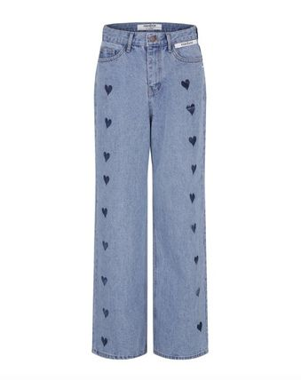 Heart Denim Street Style Plain Cotton Long Logo Jeans