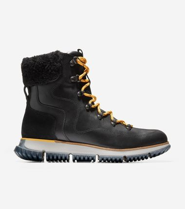 Cole Haan Mountain Boots Rubber Sole Casual Style Plain Leather
