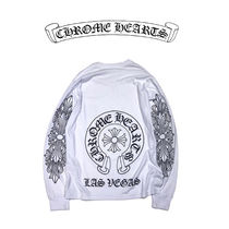 CHROME HEARTS Pullovers Unisex Street Style Long Sleeves Plain Cotton