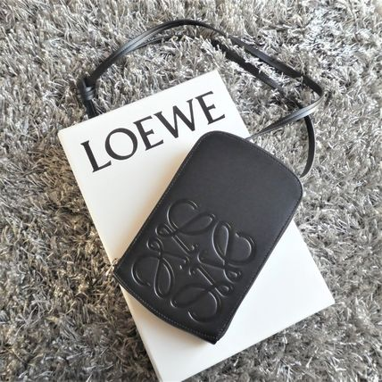 LOEWE Unisex Calfskin Plain Leather Crossbody Bag