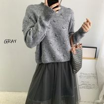 Crew Neck Cable Knit Casual Style Nylon Rib Street Style