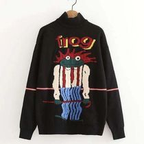 Kina and Tam Casual Style Rib Long Sleeves Other Animal Patterns Cotton
