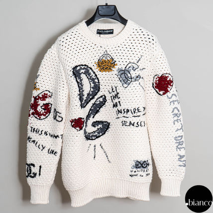 Dolce & Gabbana Crew Neck Casual Style Wool Long Sleeves Medium Logo