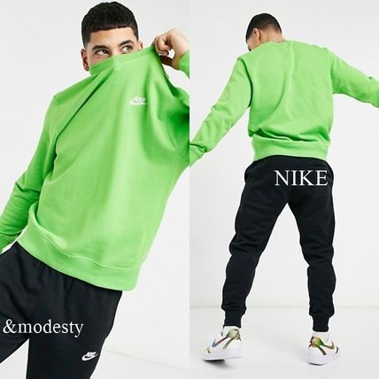 Nike Sweatshirts Crew Neck Street Style Long Sleeves Plain Logo Sweatshirts