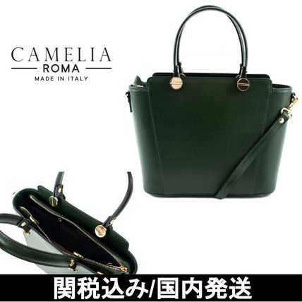 Saffiano 2WAY Plain Leather Elegant Style Handbags