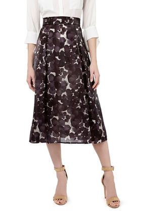 Flower Patterns Casual Style Pleated Skirts Bi-color Medium