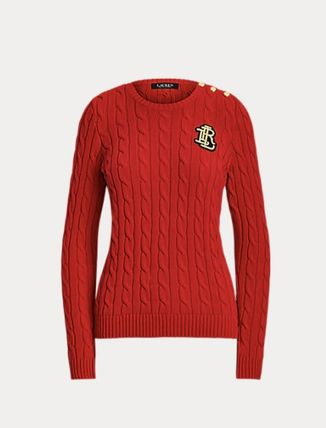 Ralph Lauren Logo Crew Neck Cable Knit Short Casual Style Rib