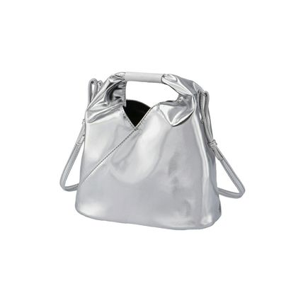 2WAY Plain Purses Crossbody Logo Bucket Bags