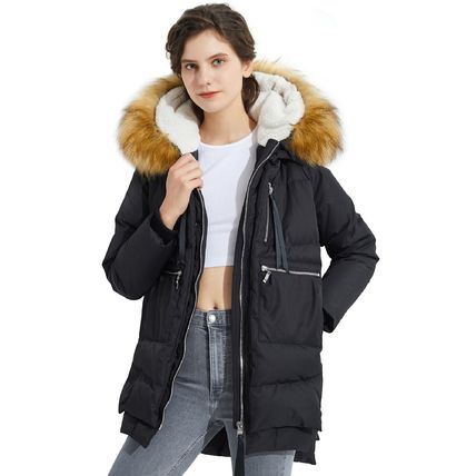 Wool Cashmere Nylon Faux Fur Studded Street Style Plain Long