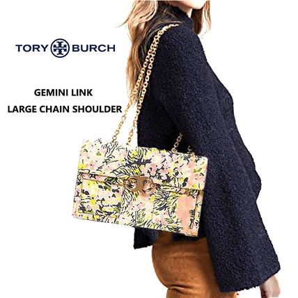 Tory Burch GEMINI LINK Flower Patterns Casual Style 2WAY Leather Party Style