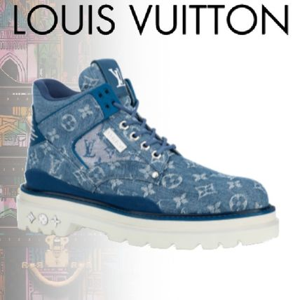 Louis Vuitton Monogram Street Style Plain Leather Logo Engineer Boots