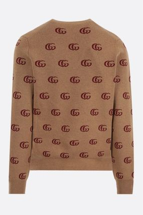 GUCCI Sweaters Double G Jacquard Wool V-Neck Sweater 3